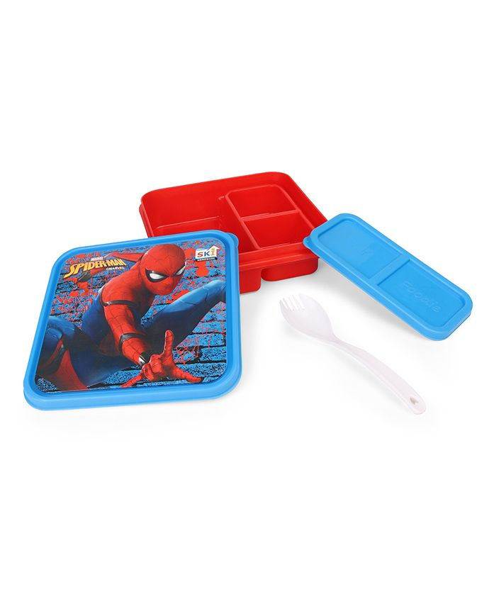 Marvel Spiderman Lunch Box With Fork And Spoon - Red Blue
