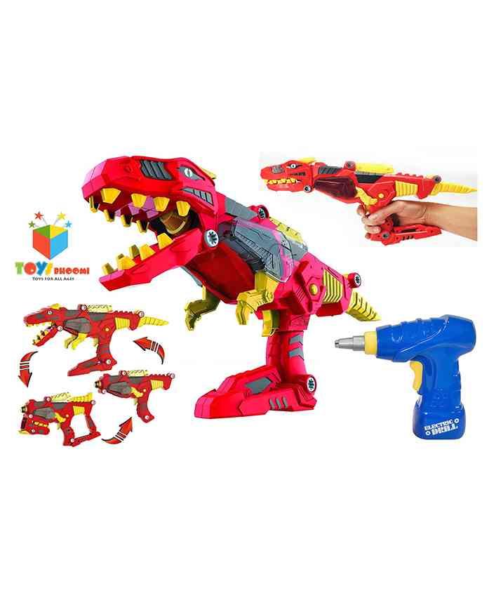 Toys Bhoomi 3 In 1 Transforming Dinosaur Toy Gun - Red & Blue
