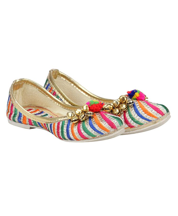 Buckled Up Striped Mojaris With Ghunghroo - Multicolor