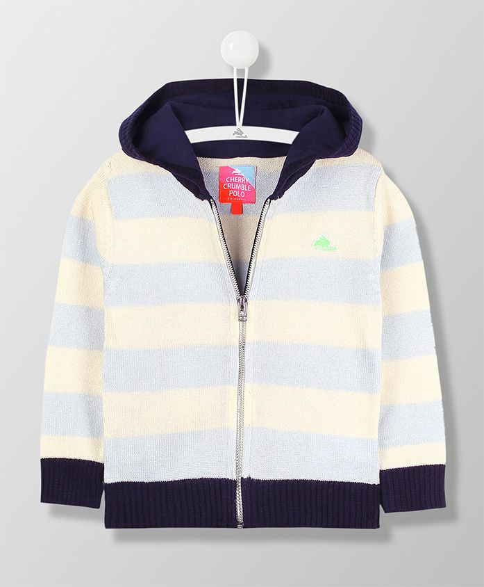 Cherry Crumble California Long Sleeves Striped Hooded Jacket - Blue