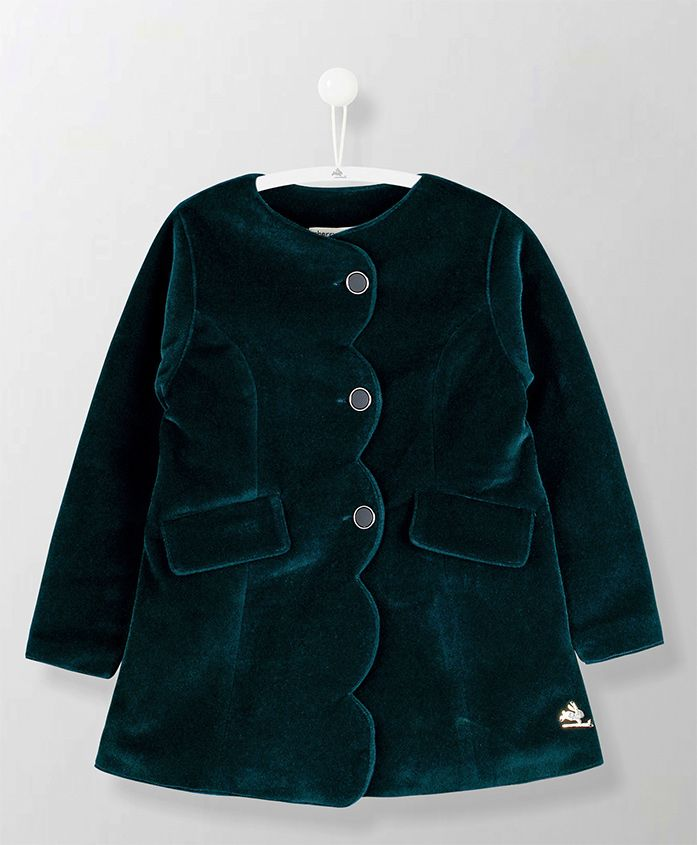 Cherry Crumble California Solid Full Sleeves Velvet Coat - Green