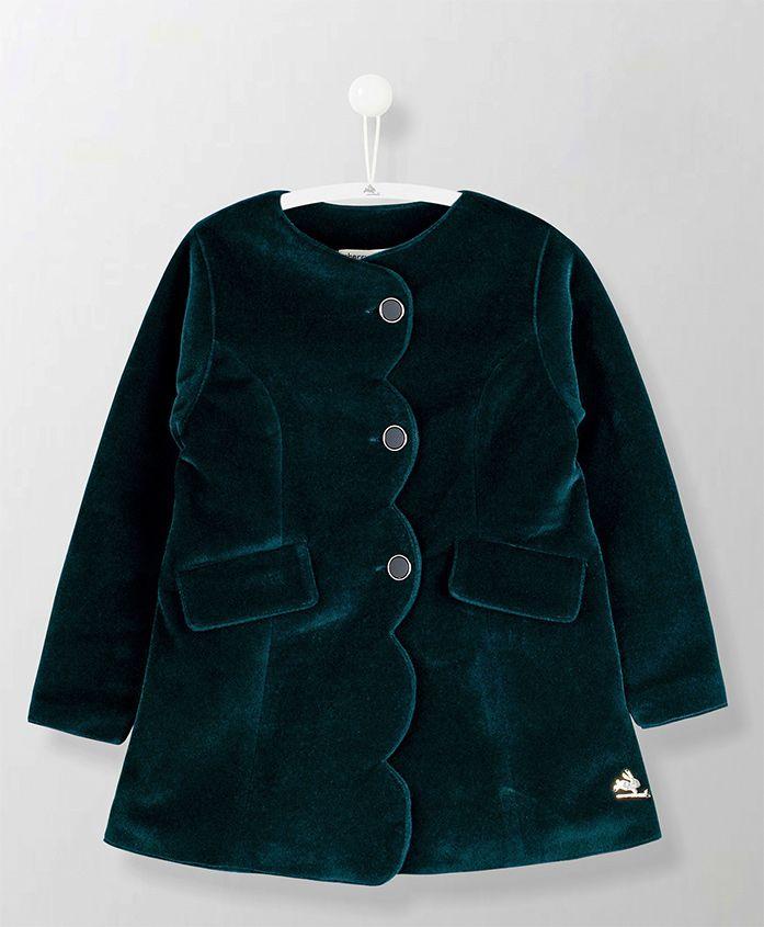 Cherry Crumble California Solid Full Sleeves Velvet Coat - Green