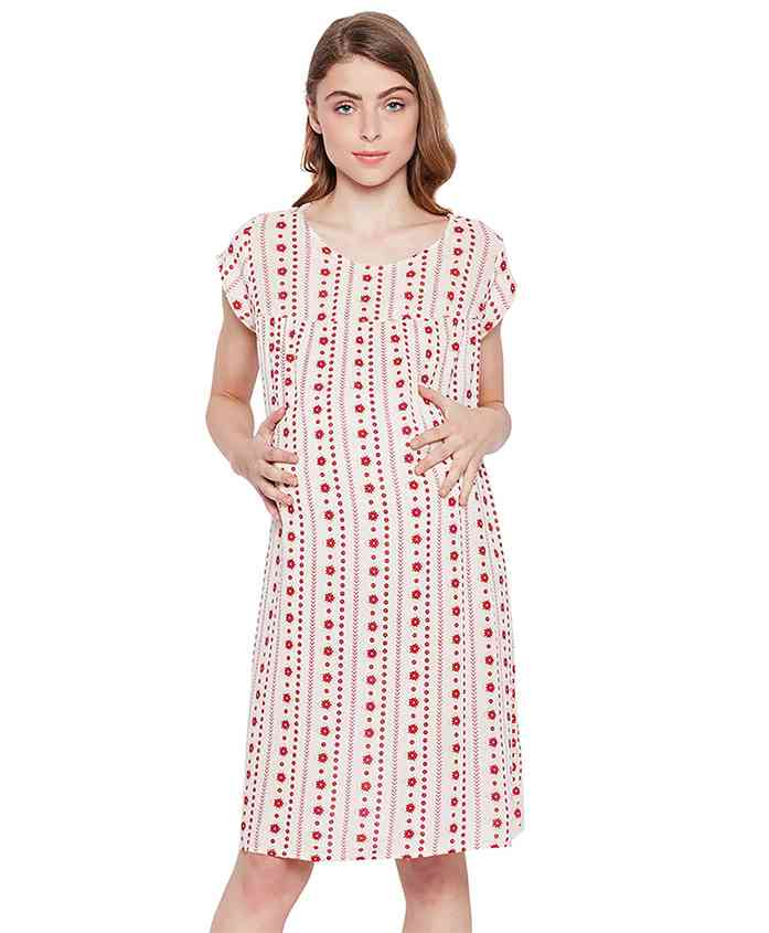 Oxolloxo Short Sleeves Maternity Dress Floral Print - Off White Red