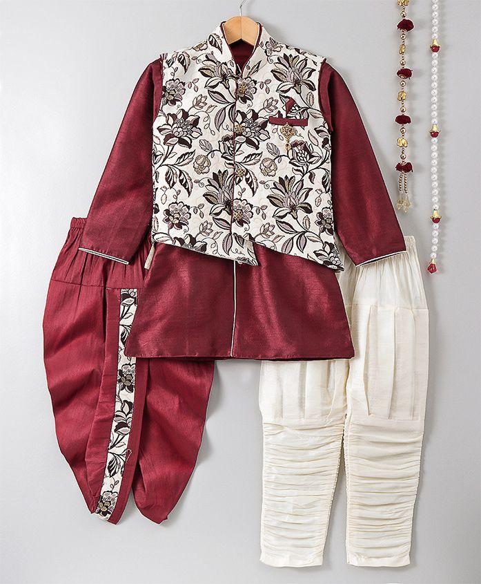 Jeet Ethnics Kurta Pajama & Dhoti Set With Jacket - Maroon