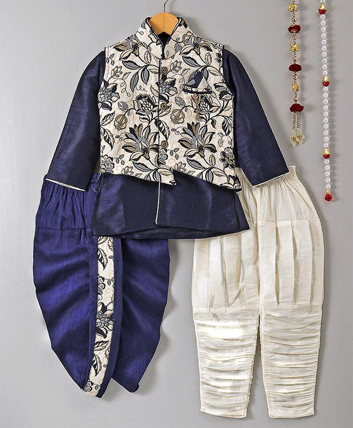 Jeet Ethnics Kurta Pajama & Dhoti Set With Jacket - Blue