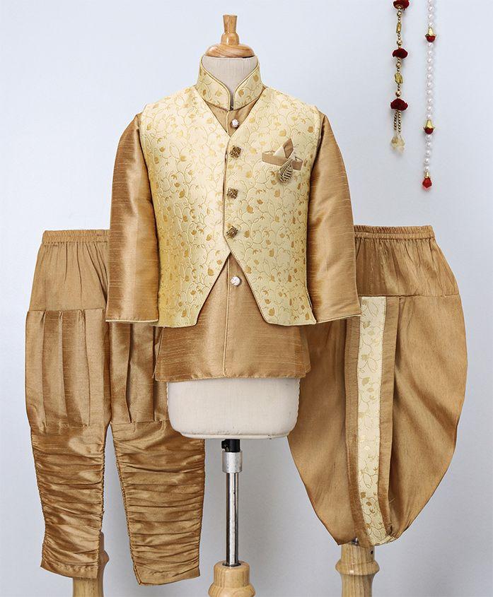 Jeet Ethnics Kurta With Jacket & Dhoti Pajama Set - Gold