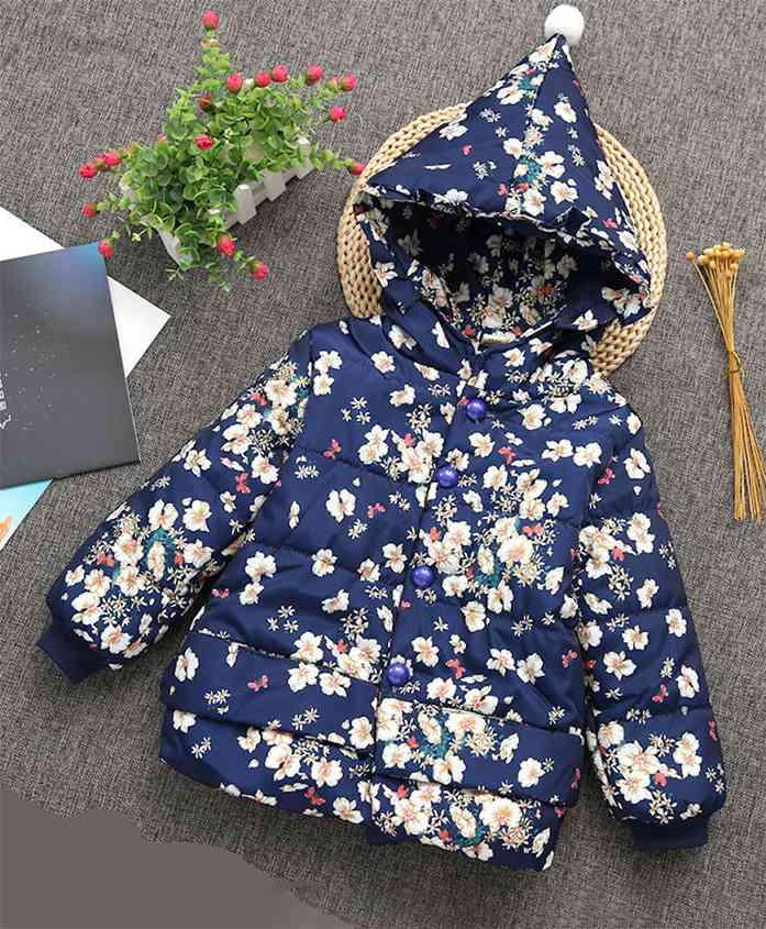 Pre Order - Awabox Floral Print Full Sleeves Jacket With Hood - Navy Blue