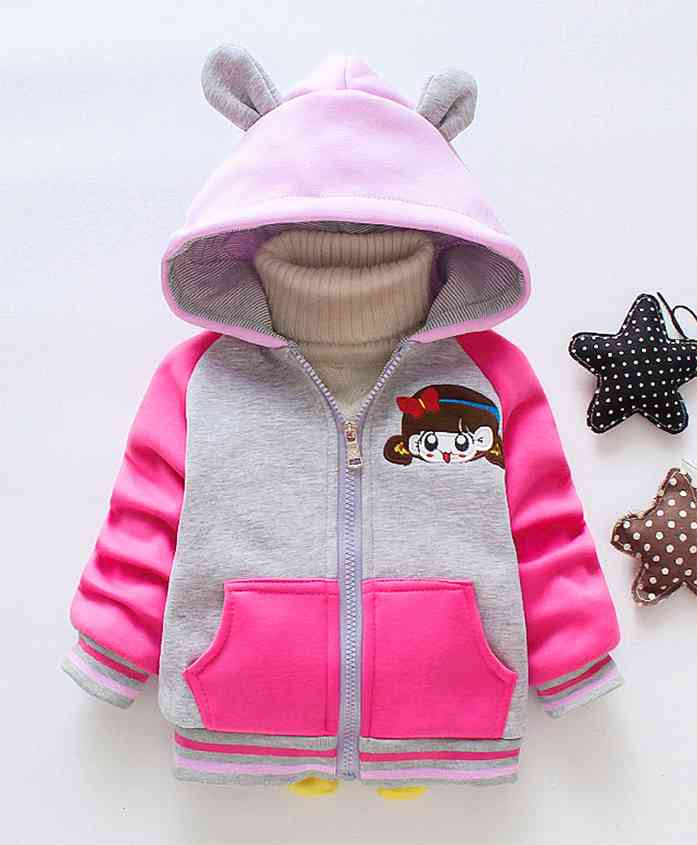 Pre Order - Awabox Full Sleeves Animated Girl Applique Jacket With Hood - Rose