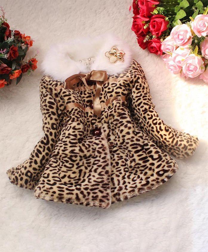 Pre Order - Awabox Animal Print Fur Full Sleeves Jacket - Brown