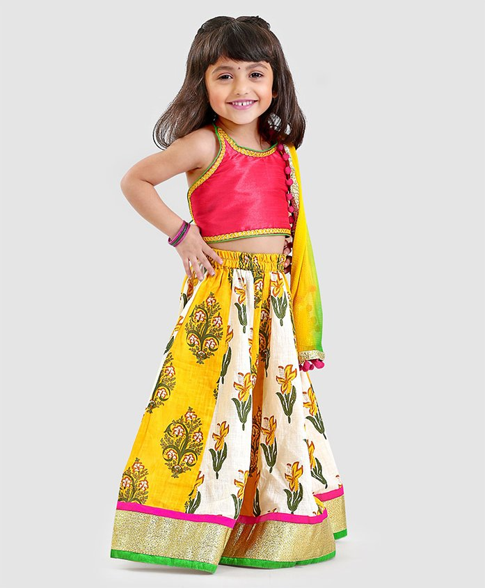 Kids Chakra Solid Sleeveless Choli & Printed Lehenga With Dupatta Set - Pink