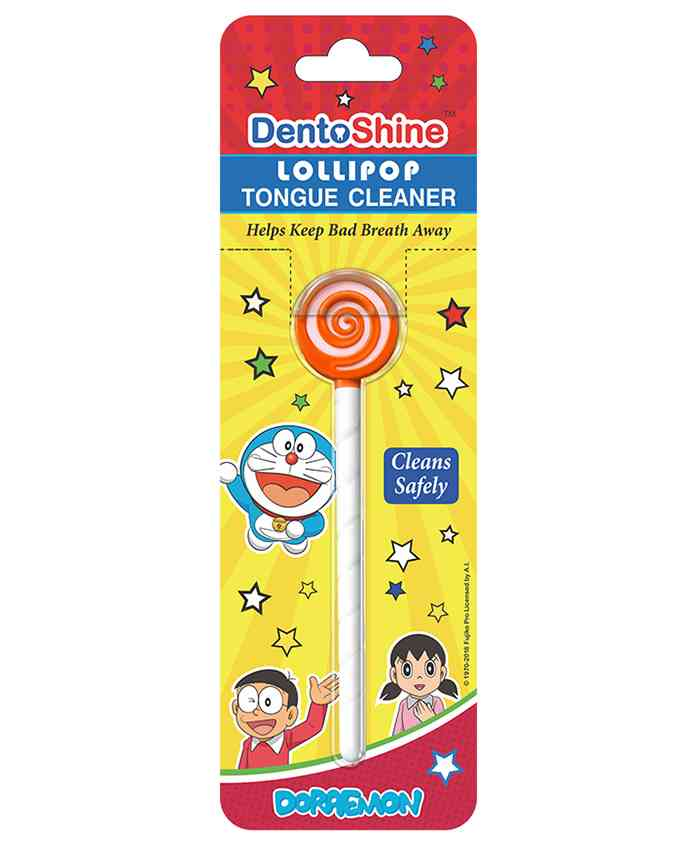 DentoShine Doraemon Lollipop Tongue Cleaner - Orange
