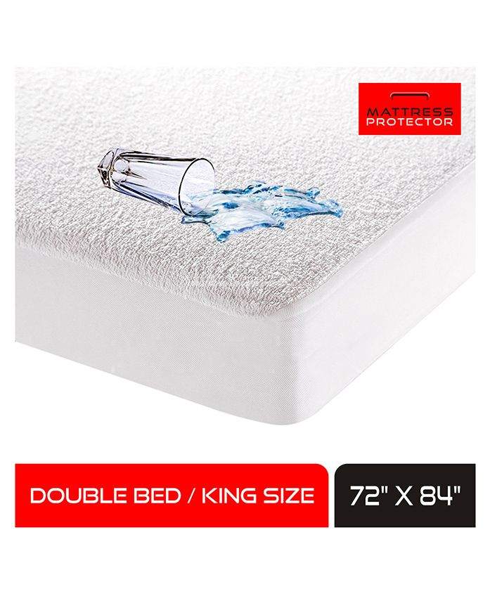 Mattress Protector Waterproof Mattress Cover Double Bed For King Size 72 x 84 inches - White