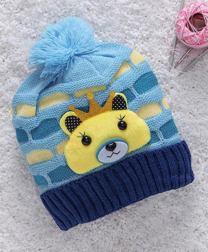Babyhug Winter Wear Woollen Cap Bear Motif - Sky Blue