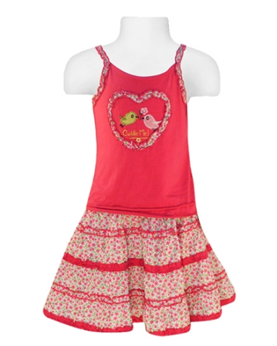 Nauti Nati - Spaghetti  Bird Print Top And Skirt Set - 12 - 18 Months