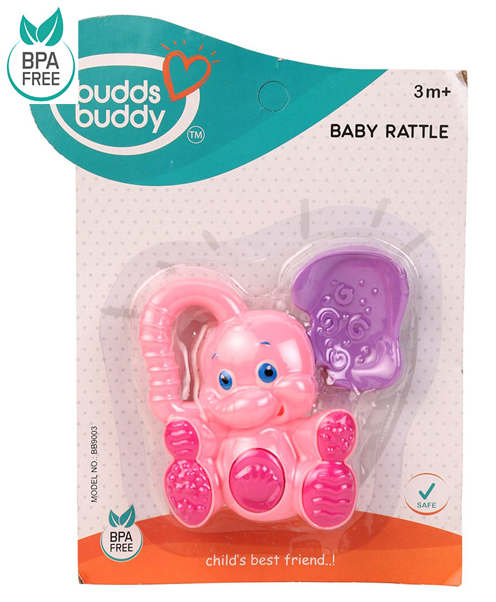Buddsbuddy Elephant Shaped Baby Rattle - Pink