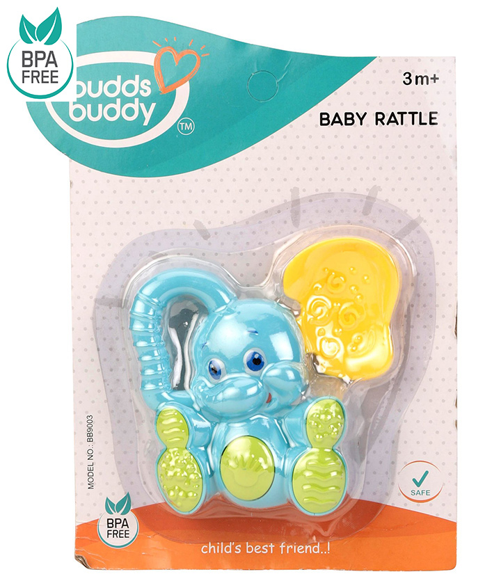 Buddsbuddy Elephant Shaped Baby Rattle - Blue