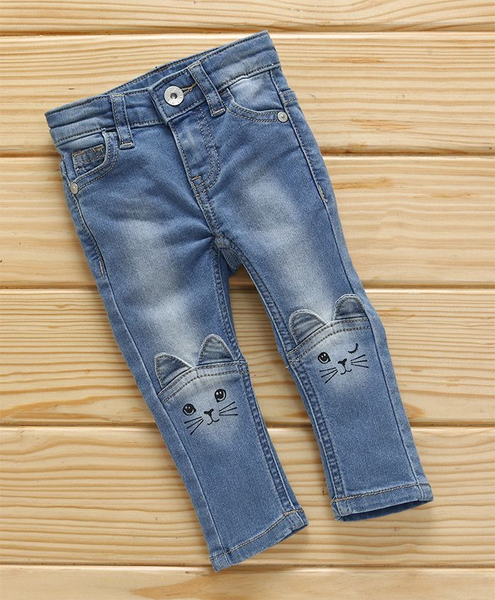 UCB Full Length Washed Style Jeans Kitty Design - Light Blue