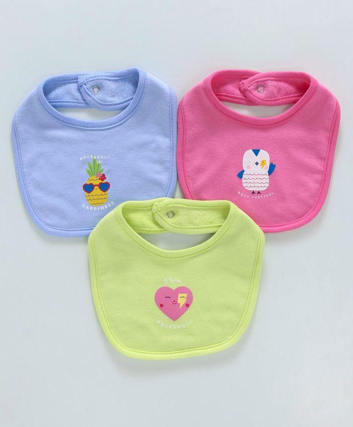 Zero Snap Button Closure Bibs Heart Print Pack of 3 - Blue Pink Green