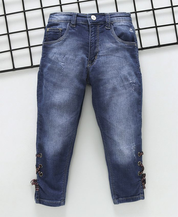 Gini & Jony Full Length Distressed DX Wash Jeans - Blue