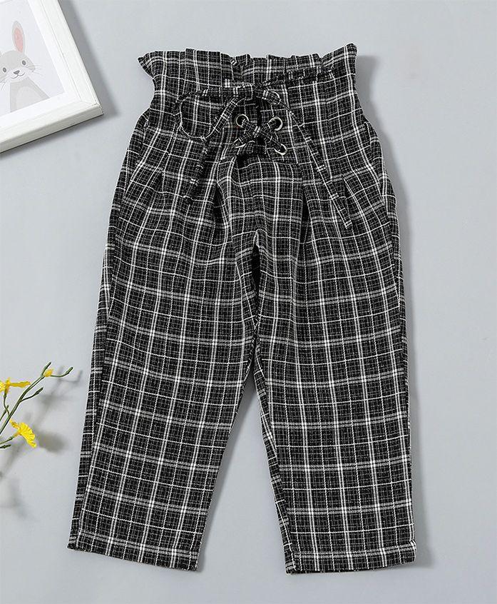 Pre Order - Awabox Checkered High Waist Full Length Bottom - Black