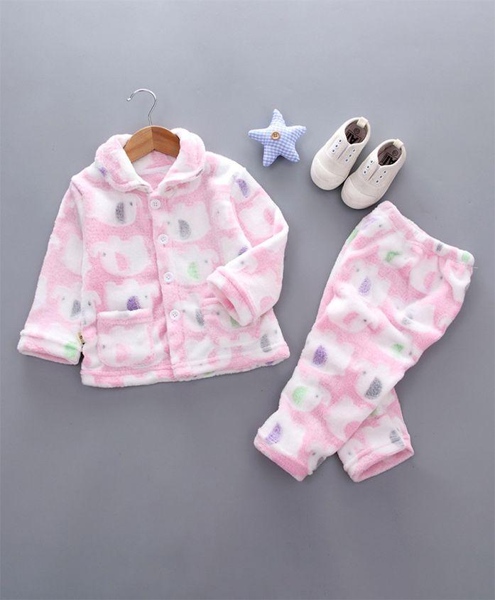 Pre Order - Awabox Elephant Print Night Suit - Pink