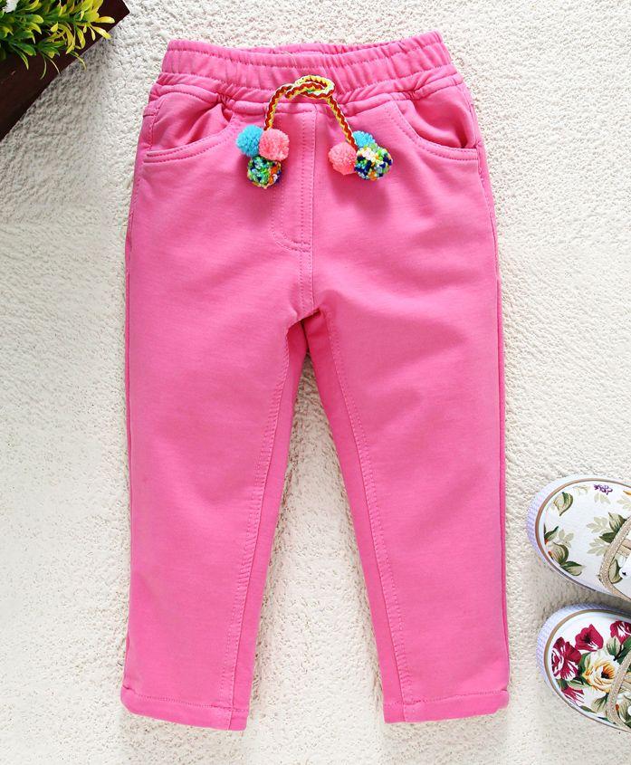Little Kangaroos�Full Length Solid Trouser With Pom Pom Drawstrings - Pink