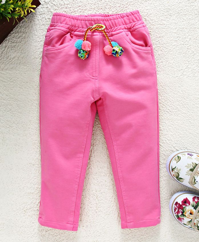 Little Kangaroos�Full Length Solid Trouser With Pom Pom Drawstrings - Pink