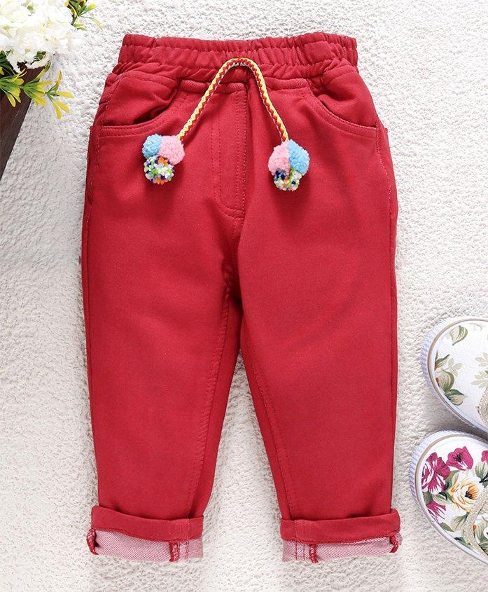 Little Kangaroos�Full Length Solid Trouser - Red