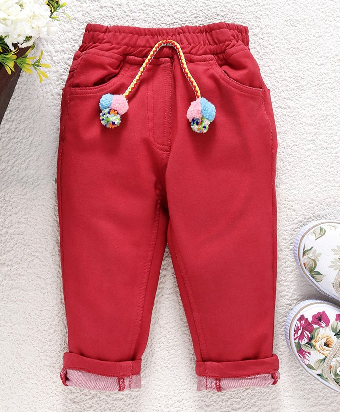 Little Kangaroos�Full Length Solid Trouser - Red