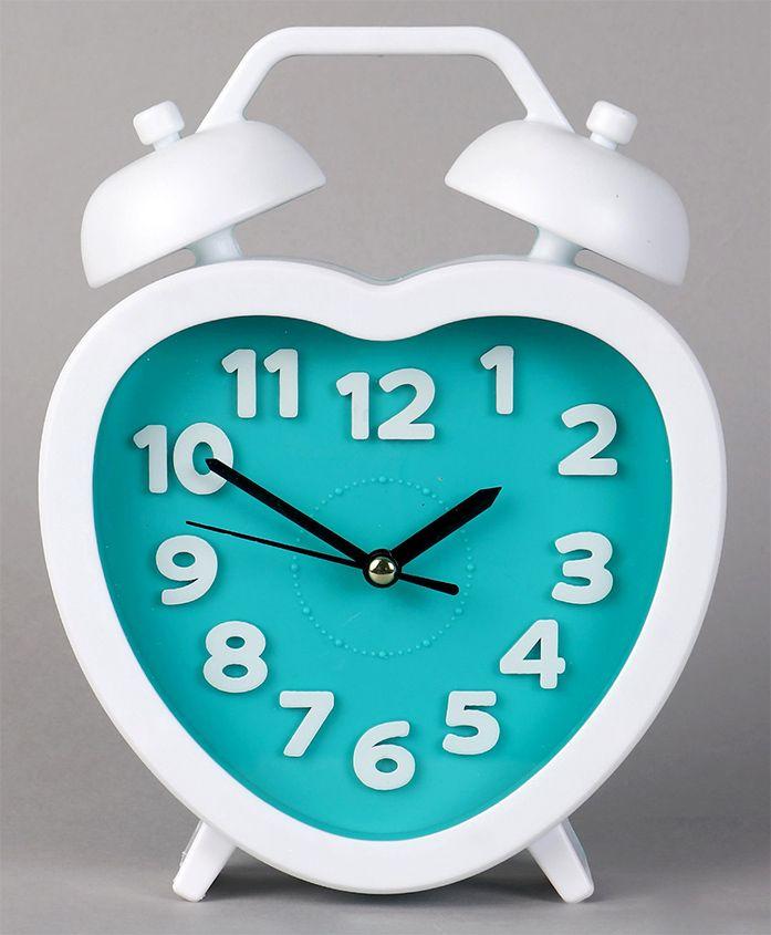 Heart Shape Analog Alarm Clock - Blue White
