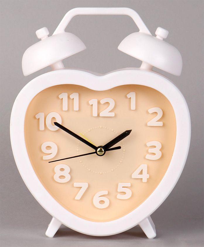 Heart Shape Analog Alarm Clock - Yellow White
