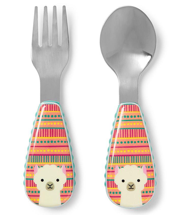 Skip Hop Spoon & Fork Set Llama Print - Multicolour
