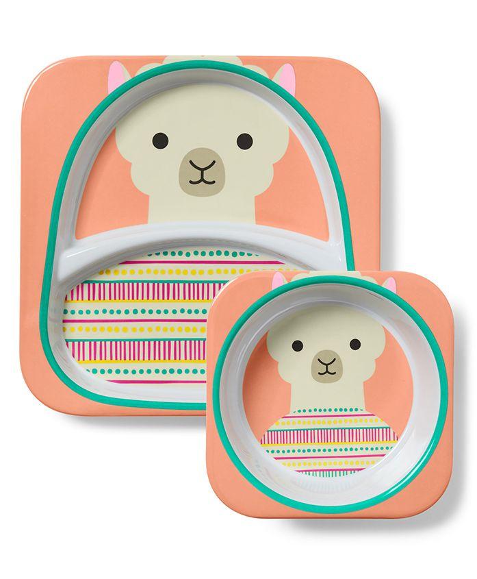 Skip Hop Bowl & Plate Set Llama Design - Peach