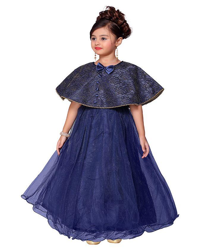 Adiva Party Wear Dress With Designer Poncho - Royal Blue