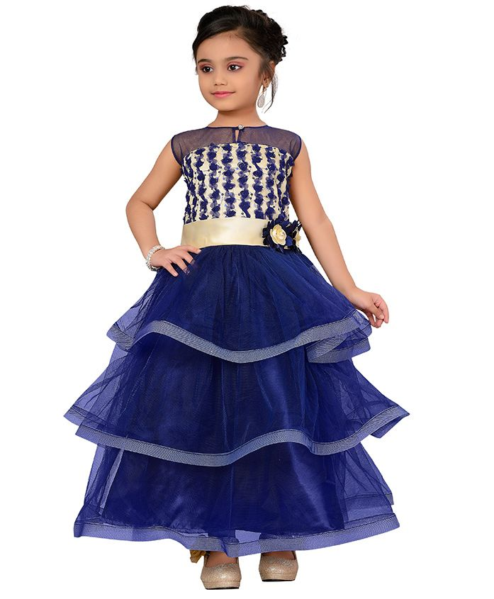 Adiva Sleeveless Layered Party Wear Gown With Floral Bodice - Royal Blue