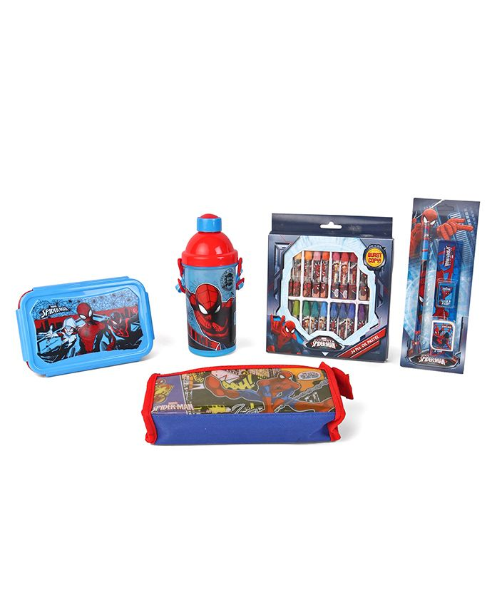 Marvel Spider Man School Kit Red & Blue - Pack Of 8