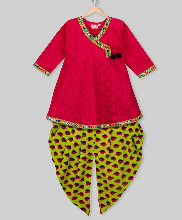 Kid1 Long Sleeves Angrakha & Printed Dhoti Set - Pink & Green