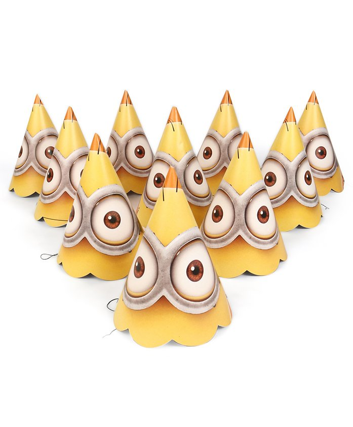 B Vishal Minions Print Paper Hats Yellow & Orange - Pack Of 10