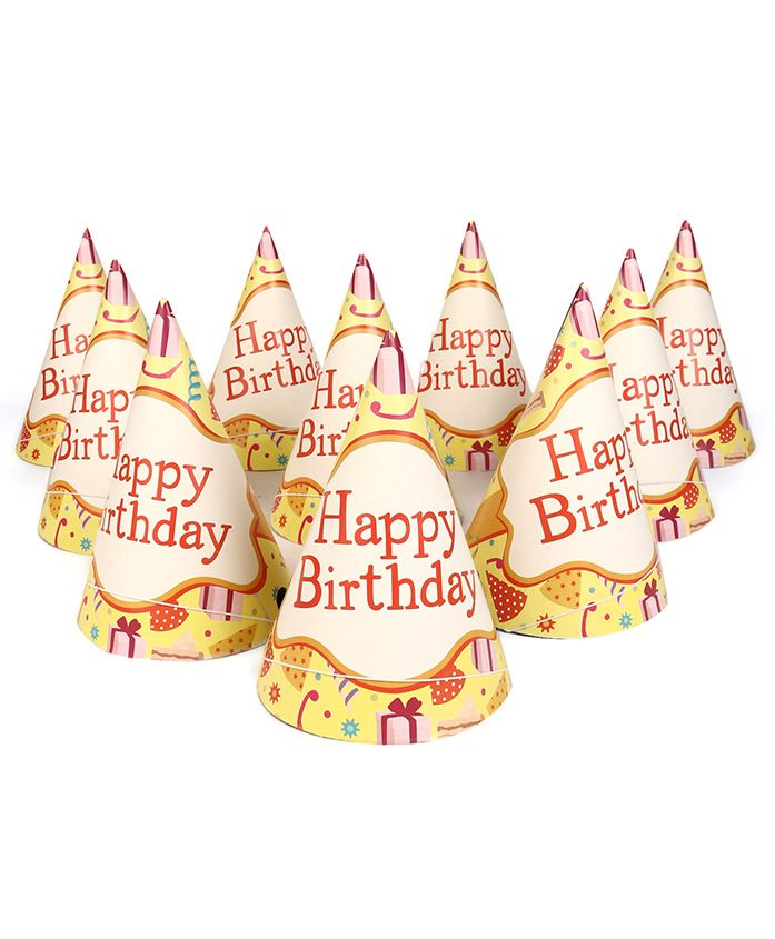 Themez Only Party Hats Happy Birthday Print Pack of 20 - Multicolour