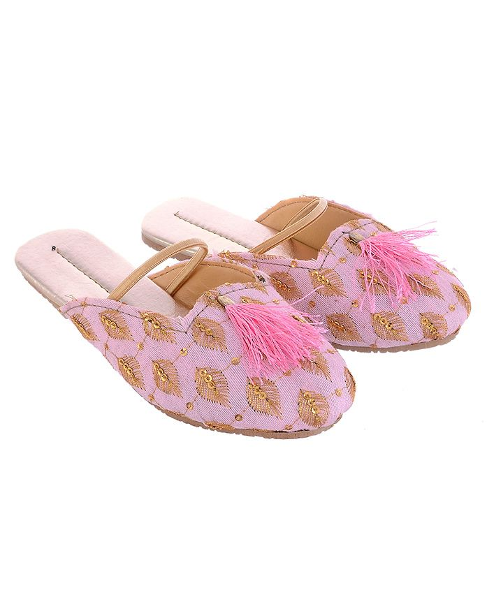 Little Palz Leaf Embroidered Flats - Pink