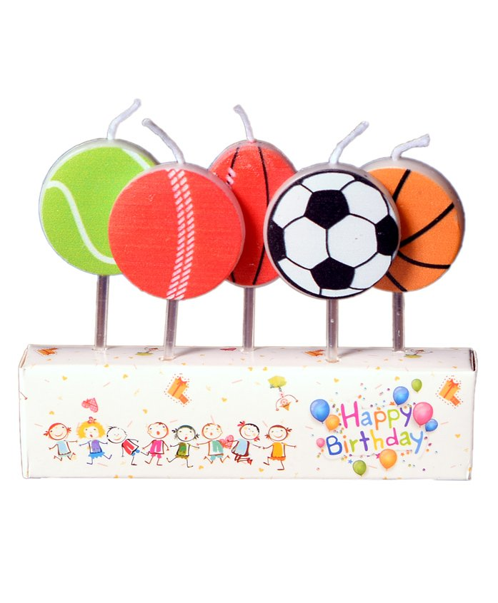 Party Anthem Sports Themed Toothpick Candles Pack of 5 - Multicolour