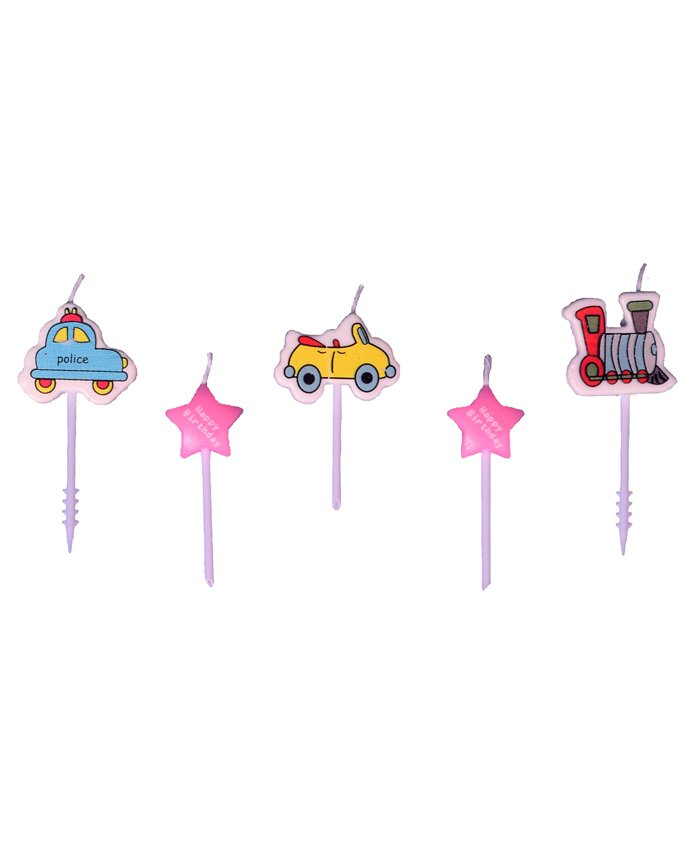 Party Anthem Vehicles Themed Toothpick Candles Pack of 5 - Multicolour