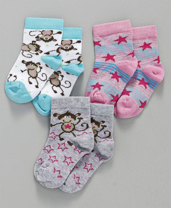 Mustang Ankle Length Socks Monkey & Star Design Pack of 3 - White Pink Grey