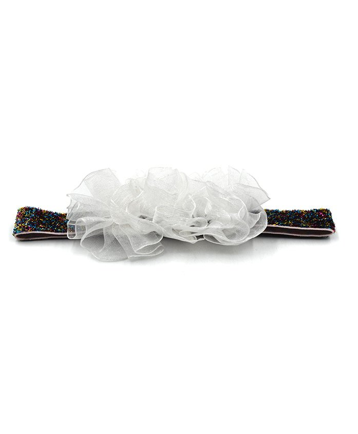 Magic Needles Netted Floral Motif Headband - White