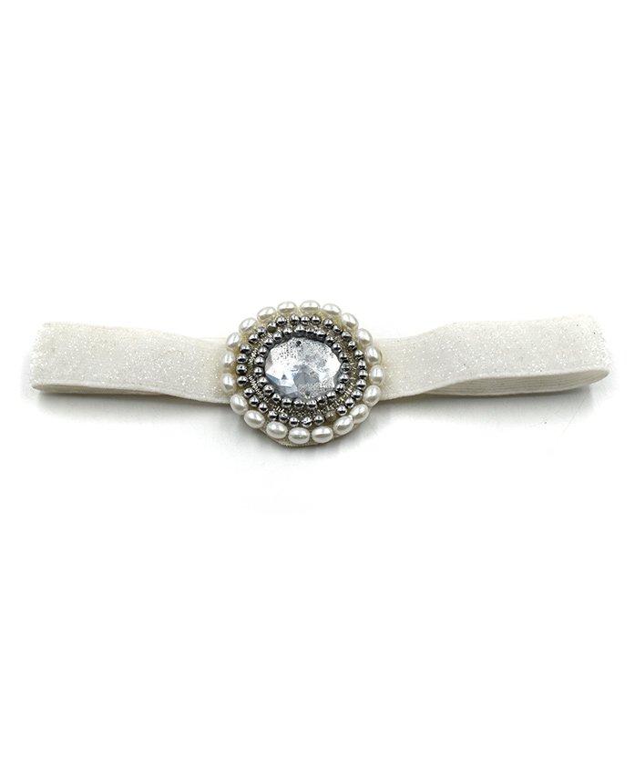 Magic Needles Headband With Pearl Work - White