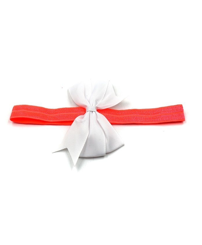Magic Needles Bow Applique Glittery Headband - Coral