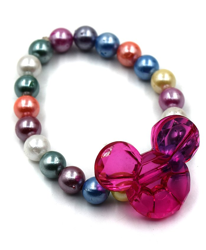 Magic Needles Beads Bracelet Minnie Mouse Applique - Pink Multicolour