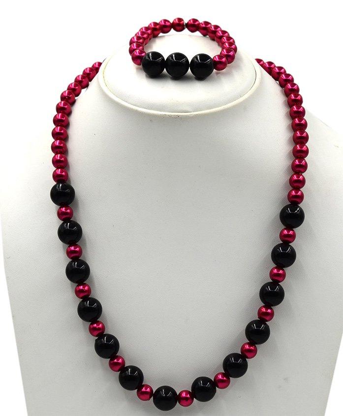 Magic Needles Pearl Necklace & Bracelet Set - Dark Pink