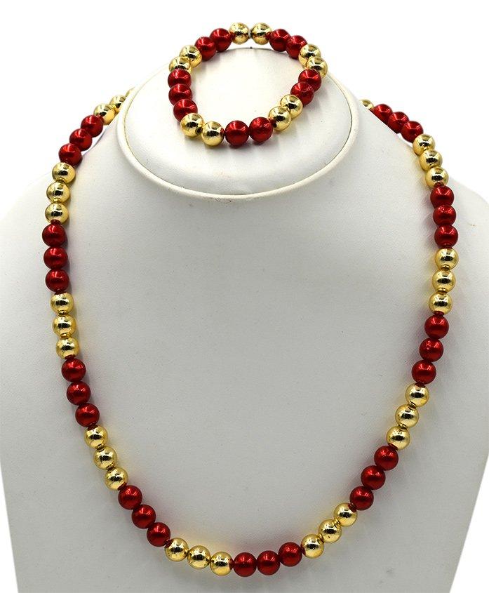 Magic Needles Necklace & Bracelet Set - Red Golden