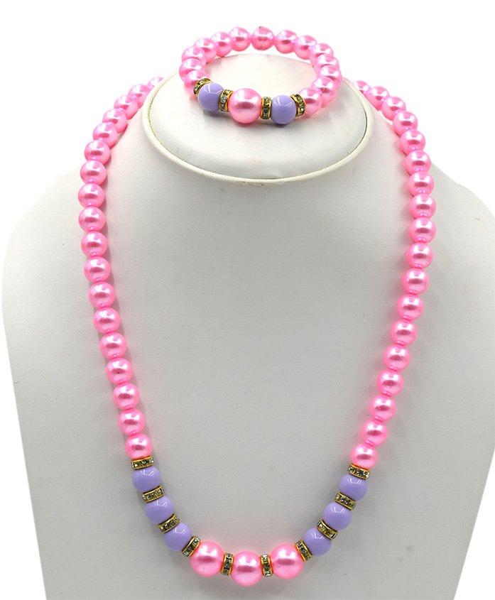 Magic Needles Pearls Necklace & Bracelet Set - Pink Purple